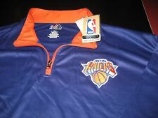 MENS NBA MAJESTIC NEW YORK KNICKS 1/4 Zip SWEATER TOP 3XL BLUE/ORANGE  NWT