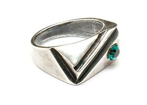 RUSSIAN ART DECO STYLE GREEN FACETED INSERT UNISEX SIGNET RING 10 T SILVER PLATE