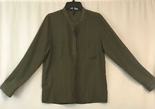 BCBG Paris Blouse Women Large Mandarin Collar Olive Green Popover Shirt