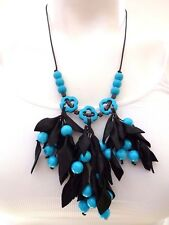 STERLING SILVER  BLACK LEATHER LEAVES TURQUOISE COLOR HOWLITE BEADS NECKLACE