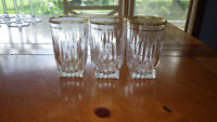 Vintage Federal Glass Park Avenue 5 oz tumblers trimmed in Gold 3 1950's