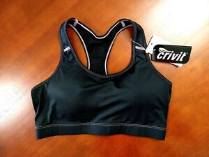 Sports Bra Size M (12/14) Black Soft Padded Cups New