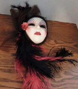 Stunning Lady Ceramic Wall Mask with Fabric, Netting and Black & Pink Feathers