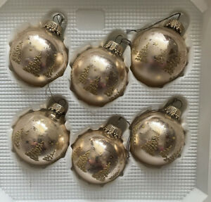 Vintage Krebs & sons glass gold Christmas baubles set of 6 in box