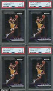 LOT of (4) 2018-19 Panini Prizm #15 Kobe Bryant Lakers HOF PSA 10 GEM MINT