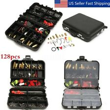 128pcs Fishing Lures Hooks Baits Tackle Box Full Storage Case Tool Set Black