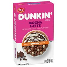 NEW POST DUNKIN' MOCHA LATTE FLAVORED CEREAL 17 OZ FREE WORLDWIDE SHIPPING