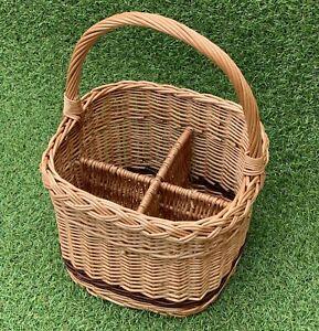 Picknickkorb - Flaschenträger Korb für Flaschen Weide Flaschenkorb Picknick
