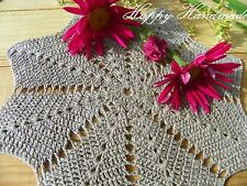 HaHa Set of 7 Grey Crochet (6x 17cm and 1x 20cm) Linen Doilies Star Coasters