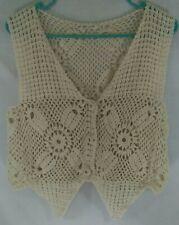 🌻 Unbranded Crochet Vest Ladies Off White Beige Boho Festival Knit Buttons