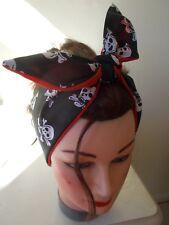 BLACK RED BANDANNA SKULL and CROSSBONES HEAD SCARF HAIR BAND HALLOWEEN PIRATE