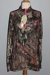 New MOSSY OAK Break-Up Country Ladies Qtr Zip Top Camo Pink S M L XL 2XL Hunting