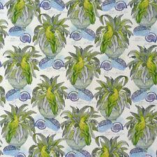 Dekostoff Pflanze Vogel Muschel weiß blau grün