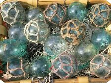 "Japanese Glass Fishing FLOATS 3-3.5"" Mixed Lot 16 Netted/Plain Nautical Decor"
