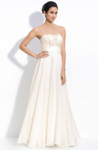 Theia Beaded Silk Organza Strapless Gown ( Size 10)