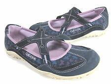 "GEOX GIRL'S ""BETTER1"" SLIPPER NAVY/LILAC LEATHER EUR 36 BIG KID'S US SZ 4 MEDIUM"