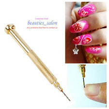 Nail Art UV Gel Acrylic Golden Hand Dangle Drill Hole Manicure Tip Tools