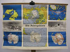Beautiful Old Schulwandkarte Polargebiete ~ 1955 98x68cm Vintage School Map