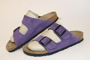 Birkenstock Womens Size 8 39 Arizona Suede Slides Flat Germany Made Sandal Shoes