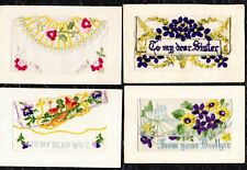 WW1 - 4 EMBROIDERED SILK POSTCARDS  - UNPOSTED  -