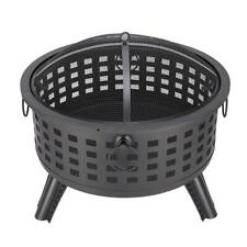 """26"""" Round Fire Pit Fire Bowl Steel Wood Burning Grill Outdoor Firepit /w Cover"""