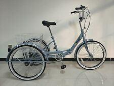 "ADULTS FOLDING TRICYCLE, 24"" WHEELS, 6 SPEED SHIMANO GEARS, GREY, BRAND NEW"