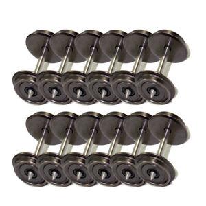 12pcs HO Scale 1:87 36'' DC Metal Wheels for Model Train DC Wheel set C8724