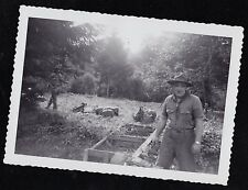 Vintage Antique Photograph Man in Boy Scout Uniform Standing w/ Gear on Ground
