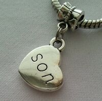 Son Heart Sideways Mother Mom Dangle Bead Silver for European Charm Bracelets