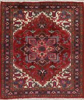Oriental Geometric Heriz Area Rug Wool Hand-Knotted Medallion RED Carpet 5x6
