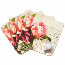 Set of 4 Drinks Coasters Desk Table Coffee Tea Cup Grey Vintage Floral Roses
