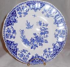 "Gien France DELFT BLUE Shallow Soup Bowl HTF Discontinued Birds & Flowers 10"""