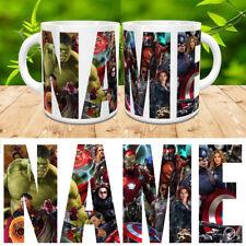 MARVEL PERSONALISED NAME MUG SUPER HEROES HULK SPIDERMAN CUP COASTER GIFT XMAS