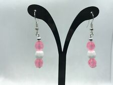 Pink and white Earrings Pierced Beaded Dangle Female US Auction .99