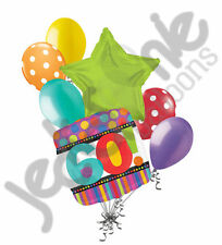 7 pc 60th Happy Birthday Balloon Bouquet Party Decoration Colorful Stripes 60