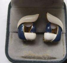 Enamel Gold Earring Vintage Costume Jewellery