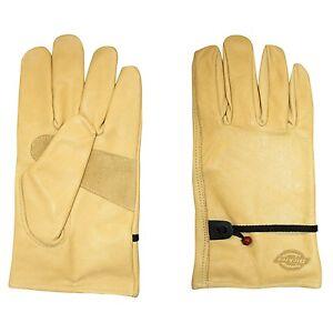 Dickies Cowhide Grain Leather Work / Driver Gloves - w/ Wrist Closure - L or XL