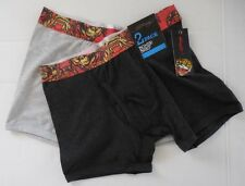 Ed Hardy Men's Open Mouth Tiger 2 Pack Boxer Brief Black/Light Grey Size S New