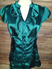 Maurices Sleeveless Blouse Ruffle Neck Size Medium Green Top Women's