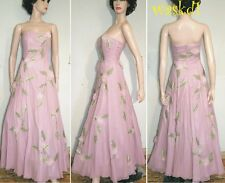 SUE WONG dusty pink Sz 6 chiffon Flowers embroidered strapless Gown NWT Authentc