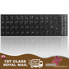 English UK Replacement Black Keyboard Stickers & Black Letters Laptop Notebook