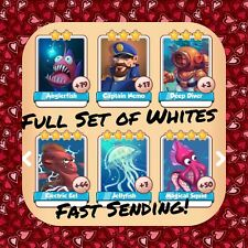 Coin Master Full Ocean Set (All 6Whites) Deep Diver Jellyfish Etc (FastDelivery)