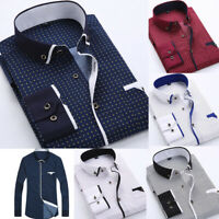 US Luxury New Mens Formal Casual Business Slim Fit Long Sleeve Dress Shirts Tops