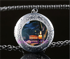 Black Cat And Book Cabochon Glass Tibet Silver Locket Pendant Necklace
