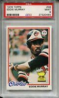 1978 Topps Baseball #36 Eddie Murray Rookie Card RC Graded PSA MINT 9 Orioles 78