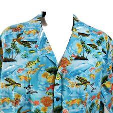 Aloha Republic 3Xl Tropical Fish Reef Sea Turtles Sealife Hawaiian Aloha Shirt