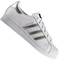 adidas Originals Superstar Damen-Sneaker Weiß/Silber Turnschuhe Sportschuhe