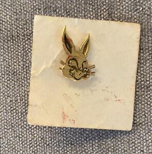 Vintage Gold Metal Bunny Bread Lapel Pin