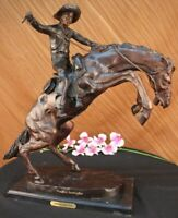 "Extra Large Scarce Frederic Remington ""Bronco Buster"" Bronze Statue 23"" Tall Art"