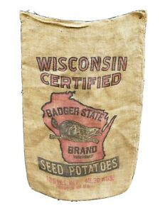 Wisconsin badger potato sack bag with graphics burlap